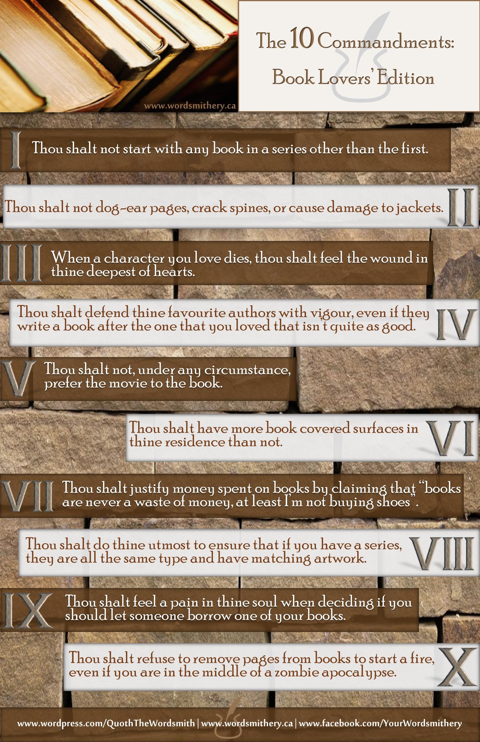 10 Commandments: Book Lovers' Edition